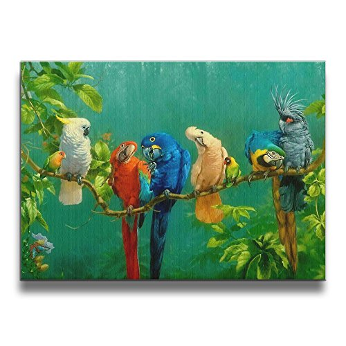 Warm-Tone Art Colorful Parrot Birds On The Tree Canvas Prints Wall Art Oil Paintings for Living Room Dinning Room Bedroom Home Office Modern Wall Decor 20x16 Inch (Tropical Bird Pictures)