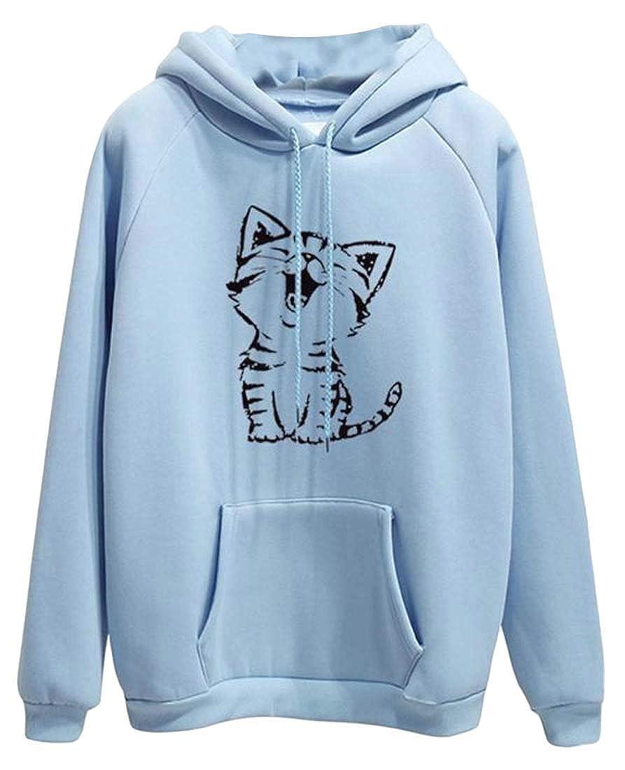 Joe Wenko Women Loose Raglan Sleeve Cat Print Pullover Hooded Sweatshirts with Pocket