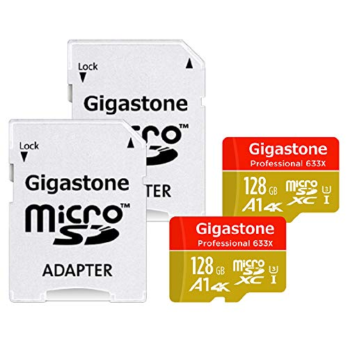 Gigastone Micro SD Card 128GB 2-Pack 4K Ultra HD, Run App for Smartphone, MicroSDXC Memory Card UHS-I U3 C10, Mini Case and SD Adapter High Speed Compatible Nintendo Switch Gopro Tablet PC Camera