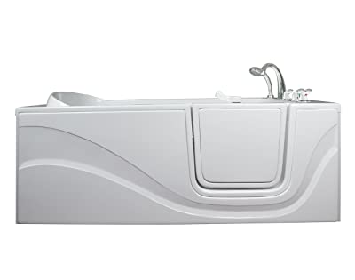 Lay Down Long Soaking Whirlpool Walk-In Tub Drain Location: Right