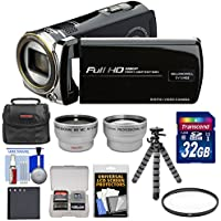 Bell & Howell DV12HDZ 1080p HD Video Camera Camcorder (Black) with 32GB Card + Battery + Case + Flex Tripod + Filter + Tele/Wide Lens Kit