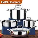 HOMI CHEF 7-Piece Mirror Polished Nickel Free Stainless Steel Cookware Set - Induction Ready Cookware Sets Nickel Free Cookware Set - Pots and Pans Set - Stainless Steel Pot With Steamer Insert, etc.