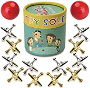 TriMagic Jacks Game with Balls for Kids and Adult, Funny Classic Jacks Games Party Toy, Include 12 Gold &