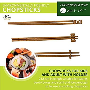 Zone – 365 Natural Rice Husk Bulk Chopsticks with Holder, 9 Inches Japanese Style, Reusable, 10 Sets, Tan