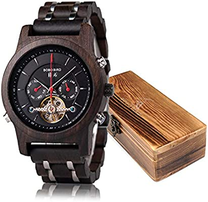 BOBO BIRD Mens Wooden Mechanical Watches Multifunction Business Luxury Wood Watch for Men