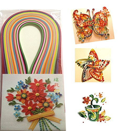 120Pcs 5MM Width 53CM Length Kids Adult Solid Color DIY Paper Strip Quilling Paper Handmade Origami Paper Crafts Home Decor Including Paper Pen
