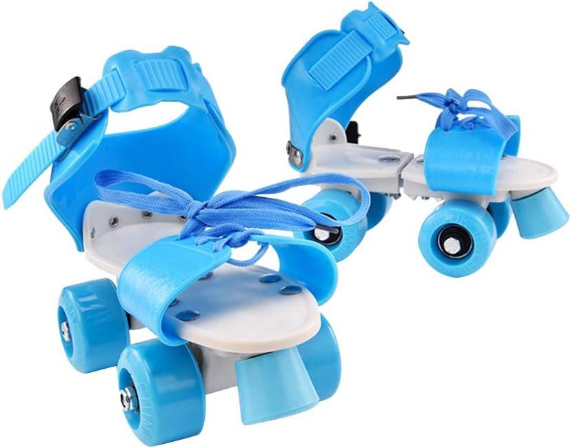Vosarea 子供用 調節可能 2列 スケート パティン 四輪バギー スケート靴 子供用 ギフト サイズ 25-32 (ブルー)