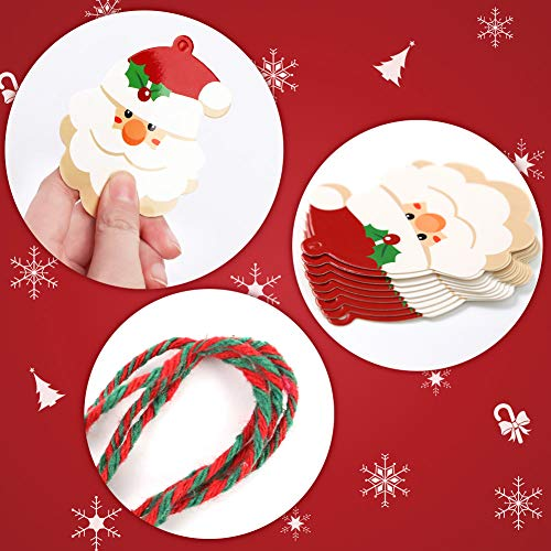 HAKACC 150 PCS Christmas Gift Tags,15 Different Pattern Designs with 30M Red and Green String for Christmas Present Tags, Christmas Party and Christmas Tree Decoration