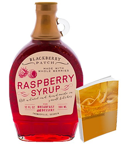 Raspberry Syrup 12floz from Blackberry Patch All Natural Handmade | Great as a simple addition to ice cream or cheesecake w/ Free 67-page Cocktail Rec…