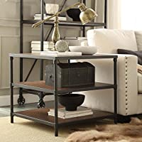 Side Table Industrial Square Rustic Pipe Frame Accent End Table - 25 in High x 28 in Deep x 28 in Wide