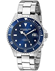 Stuhrling Original Men's 792.02 Aquadiver Analog Display Automatic Self Wind Silver Watch