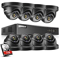 ANNKE 8CH 1080P Lite Surveillance H.264+ DVR with (8) HD 720P Outdoor Fixed Weatherproof Dome Cameras CCTV Security Camera System, 1TB Surveillance Hard Drive, Email Alert with Snapshots