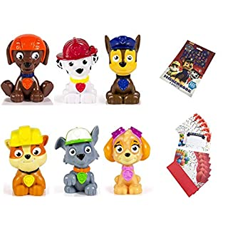 Paw Patrol Mini Figures Set of 6, Rocky, Zuma, Skye, Rubble, Marshall, Chase Paw Patrol Reward Sticker Book with 300 Stickers 6 Party Invitations Cards