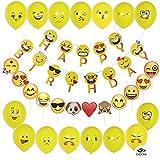 CHOTIKA Emoji party decorations - Happy Birthday Banner, Emoji-Photo Booth Props, Emoji Balloons 28pcs For Girls Kids Boys Adults Teenager Birthday Party Supplies Kit Set