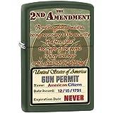 Zippo Lighter: Second Amendment Rights - Green Matte
