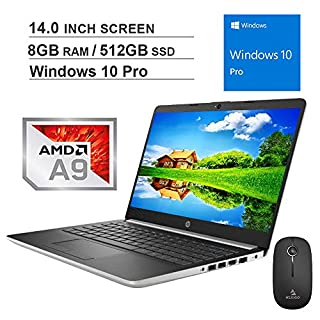 2020 Newest HP Pavilion 14 Inch Premium Laptop| AMD A9-9425 up to 3.7GHz| 8GB DDR4 RAM| 512GB SSD| WiFi| Bluetooth| HDMI| Webcam| Windows 10 Pro + NexiGo Wireless Mouse Bundle