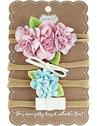 Mud Pie Floral & Bow Mini Diadema, Talla única, Color Rosa y Azul