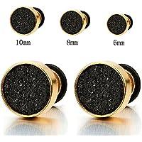 6-10mm Mens Women Gold Stud Earrings Steel Illusion Tunnel Plug Screw Back with Black Sand Glitter