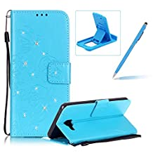 Wallet Case for Samsung Galaxy A5 2016 A510,Strap Portable Leather Case For Samsung Galaxy A5 2016 A510,Herzzer Stylish Bling Diamonds Blue Butterfly Embossed Pu Leather Purse Pouch Magnetic Closure Flip Folio Protective Case
