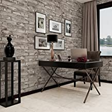 Grey 3D Brick Wallpaper Sticker Decoration Self-Adhesive Vintage Textured, PVC Faux Brick Wall Paper Bedroom Living Room TV Background Wall Decoration 0.45x10m