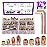 Swpeet 122Pcs Carbon Steel Color Zinc Plated Carbon Furniture Screw in Nut Threaded Wood Inserts Bolt Fastener Connector Hex Socket (1/4 + 5/16, Assortment Kit) (Tamaño: 1/4 + 5/16)