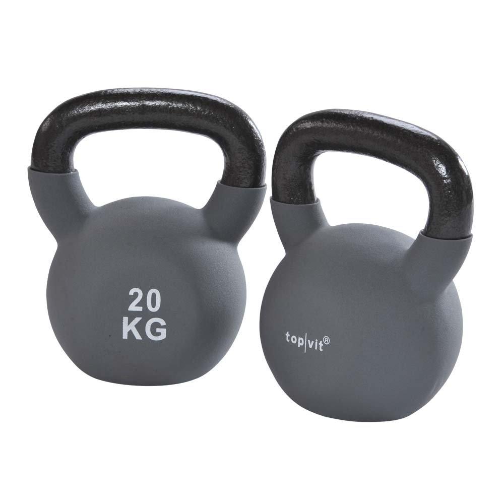 1 x Kugelhantel, top vit® kettle.bells, Neopren-Hantel, Gewichte, 20,0 kg, grau