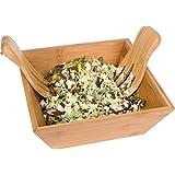 "Trademark Innovations BAMB-SALAD-BOWL 11"" Square Bamboo Salad Bowl Set with Serving Hands, Tan"