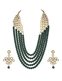 Aheli Elegant Indian Ethnic Traditional Beaded Long Kundan Necklace Earring Set Bollywood Wedding Party Jewelry for Women