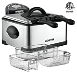 Gourmia GDF-500 Compact Electric Deep Fryer, 3 Baskets with Digital Timer & Thermostat, Stainless Steel, 4.2 quart/18 Cups of Oil/4 lbs of Food, 1700W, Silver