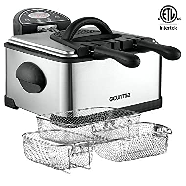 Gourmia GDF500 Compact Electric Deep Fryer, 3 Baskets with Digital Timer & Thermostat, Stainless Steel, 4.2 quart/18 Cups of Oil/4 lbs of Food, 1700W, Silver E-Recipe Book Included,110v