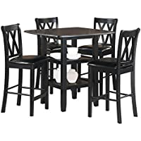 Homelegance Norman 5-Piece Counter Height Dining Set with Two Display Shelves, Black