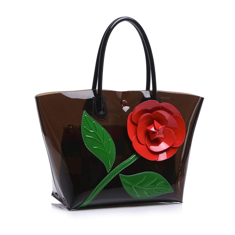 Brown Huasen Evening Bag Women Transparent Flora PVC Composite Female colorful Large Capacity Pudding Crystal Lady Tote Handbag Jelly Tote Party Handbag (color   Red)