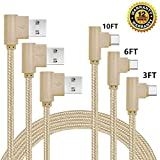 USB Type C Cable, CTREEY 90 Degree 3 Pack 3ft 6ft 10ft Nylon Braided Long Cord USB Type A to C Charger for Macbook, LG G6 V20 G5,Google Pixel, Nexus 6P, Nintendo Switch, Samsung Galaxy S8+ (Gold)