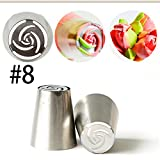 Russian Tulip Nozzle Perfect for Cake Cupcake Decorating Icing Piping Nozzles Rose Nozzles Tips (#8)