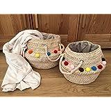 Corn Leaf Belly Basket With Pom Poms Rope Handles Magazine Storage Beach Bag