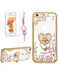 iPhone X Case,Girlyard Crystal [Pink Flower Butterfly] Glitter Sparkle Case Soft Silicone TPU Gold Bumper Ultra Thin Back Cover with 360 Degree Rhinestone Heart Love Ring Protective Cover for iPhone X