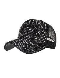 219b789cc84438 JESPER Women Rhinestone Hats Female Baseball Cap Bling Diamond Hat