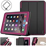 New iPad 2017/2018 case, Protective iPad 9.7 inch Smart Cover Auto Sleep Wake with Leather Stand Feature for Apple 5th/6th Generation (A1822/A1823/A1893/A1954) New iPad (Black/Rose)
