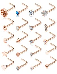 20G 20Pcs Nose Ring CZ Nose Stud Retainer L Shaped Screw Bone Labret Nose Piercing Jewelry Set Stainless Steel Silver Rose Gold Tone