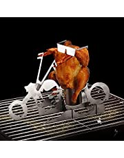 SHAARMS Beer Can Chicken Holder, Stainless Steel American Motorcycle with Sunglasses Roasting Rack Beer Chicken Stand BBQ for Indoor Outdoor Grill Camping