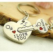 "Liroyal Couple Keychain Keyring --- ""I Love You"" Heart + Key --- Lover Sweetheart Gift for Valentine's Day / Wedding Anniversary / Birthda(1 pair) (SILVER, 1) (style1, 1)"