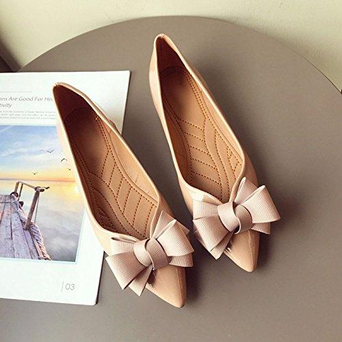 HBDLH Damenschuhe/Frühjahr Art Flachen Lack Lack Lack Leder Aufgewachsen in Bogen Flachen Boden Damenschuhe Einzelnen Schuh Hochzeit Schuhe. Apricot color 26efc9