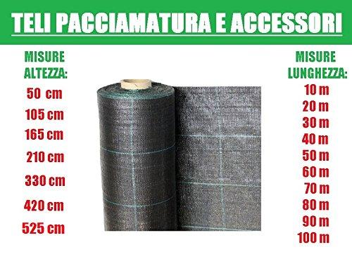 ITALFROM Teli Telo per Pacciamatura Nero Quadrettato Tessuto Polipropilene Antistrappo - mt 60 x 5,25 h