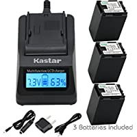 Kastar Fast Charger + BP-827 Battery 3X for Canon VIXIA HF10 HF11 HF20 HF21 HF100 HF200 HF G10 HF M30 M31 M32 HF M40 M41 HF M300 HF M400 HF S10 HF S11 HF S20 HF S21 S30 S100 S200 HG20 HG21 HG30 XA10