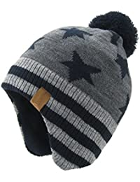 13cd55720dc Baby Boys Girls Knit Hats Winter Fleece Skiing Winter Caps with Warm Ear  Flap