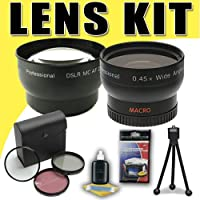 DavisMAX 2X Telephoto and 0.45X Wide Angle Lens with 3 Piece Filter Kit Bundle for Canon 58mm Camcorders