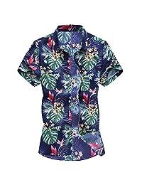 Turn Down Collar Shirts for Men,Fashion Slim Loose Printed T-Shirt Hawaii Short Sleeve Tops