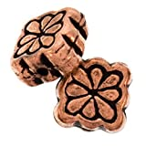 Real Copper Square Embossed Beads With Flower 9mm (10)