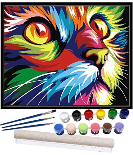 Cat Paint by Numbers for Adults Beginner DIY Acrylic Oil Painting Kits for Kids Child Teen Students on Canvas Painting Art Crafts Projects for Home Wall Decoration Drawing Paintwork with 4 Paintbrush