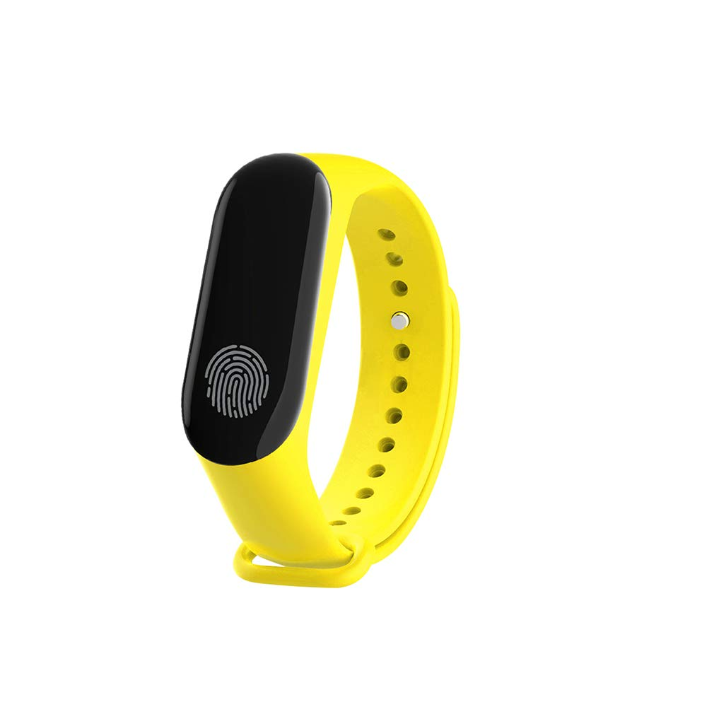Yellow Black White Fingerprint Screen Smart Watch,Fitness Tracker Heart Rate Sleep Blood Pressure Monitor Calorie Counterblueetooth Compatible iOS and Android